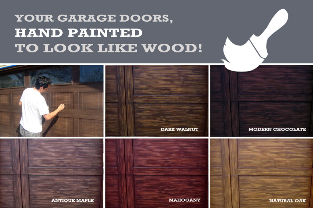 Major curb appeal with our faux wood painting for your garage doors